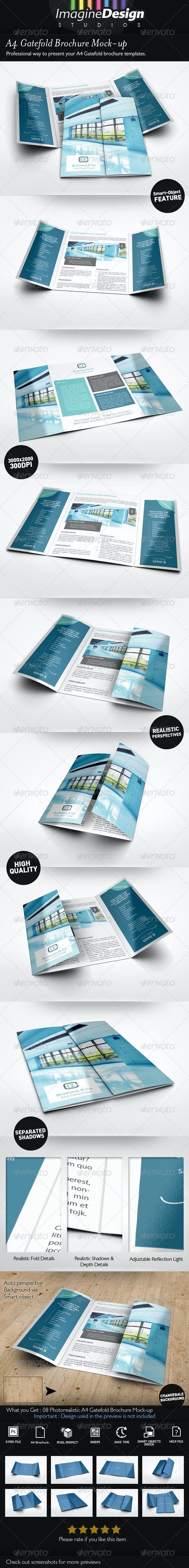 A4 Gatefold Brochure Mockup - Brochures Print