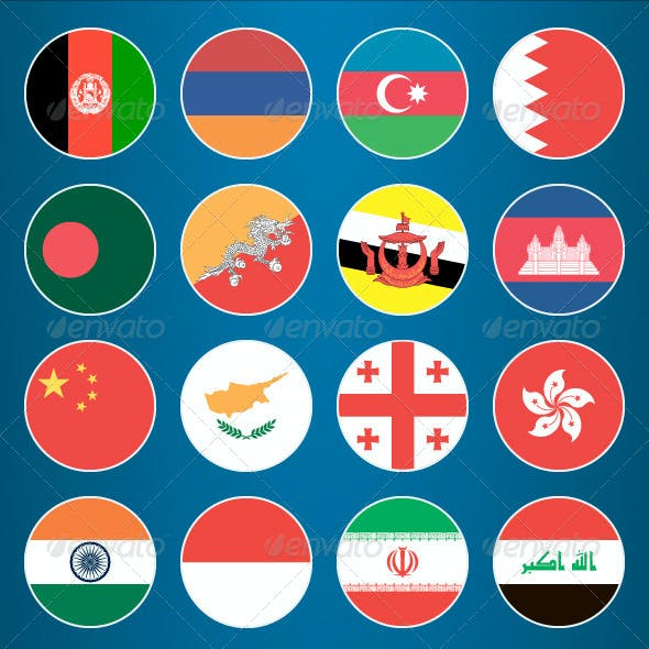 Flat Flag Icons Asian Countries