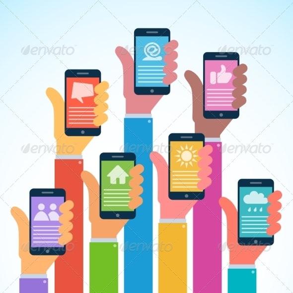 Hands with Modern Smartphones - Flat Design - Communications Technology
