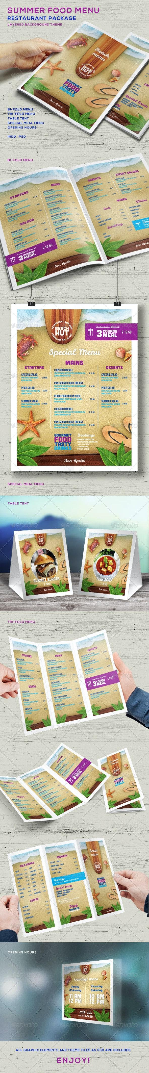 Summer Food Menu - Restaurant Package - Food Menus Print Templates