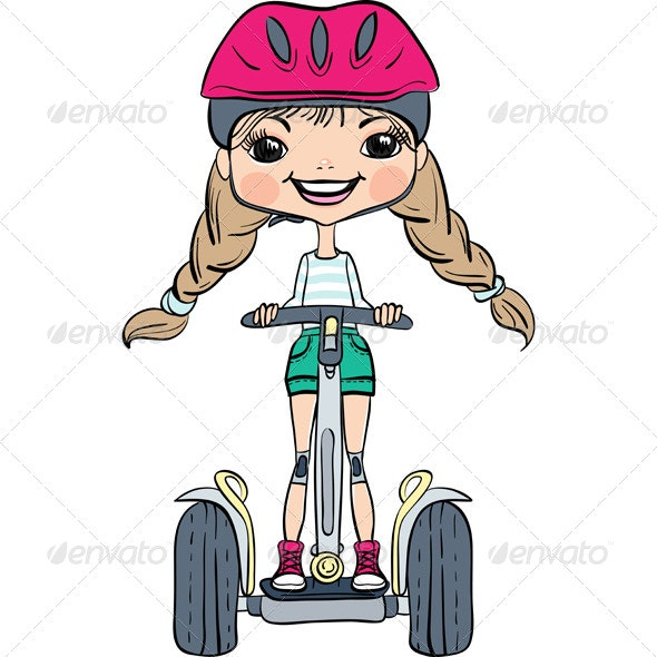 Girl Riding a Segway - People Characters