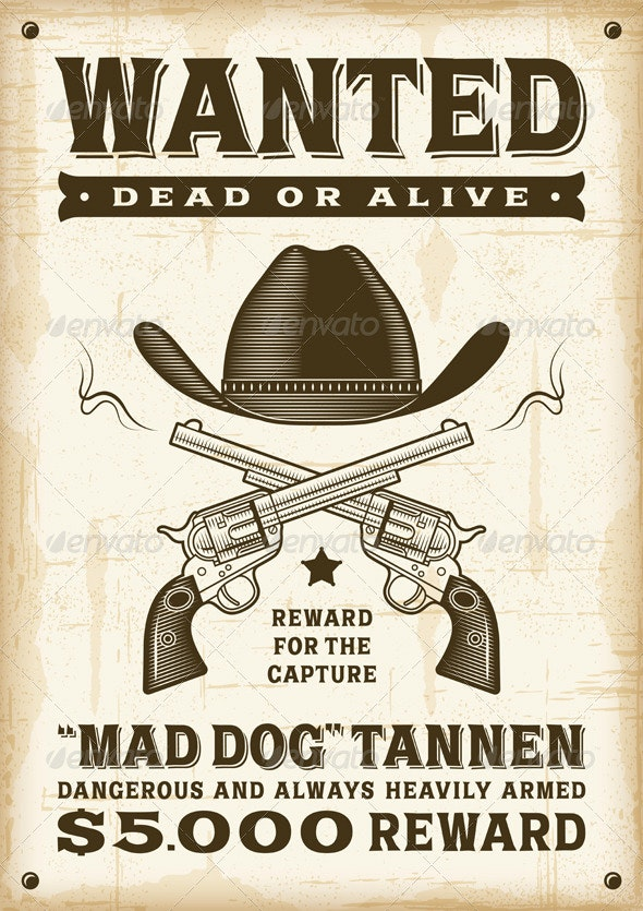 Vintage Western Wanted Poster - Miscellaneous Vectors