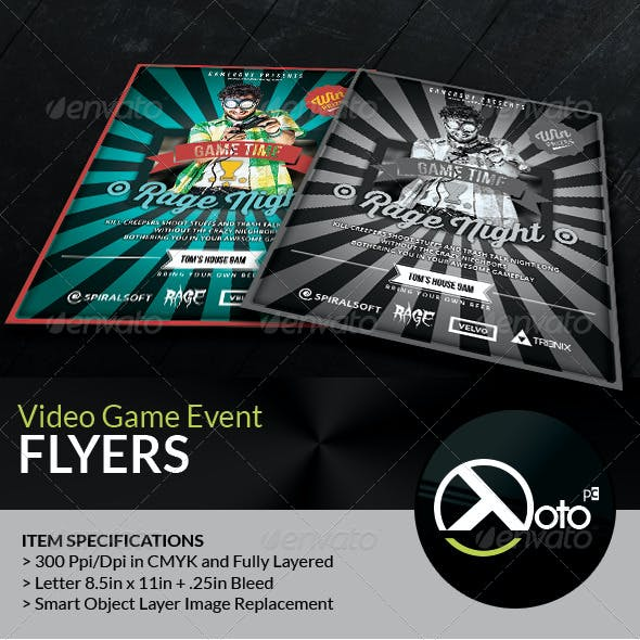 Retro Video Game Overnight Event Gaming Flyer