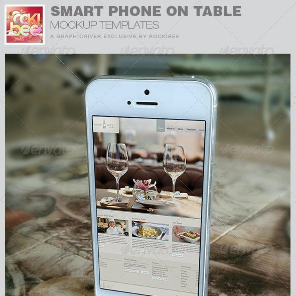 Smart Phone on Table Mockup Templates