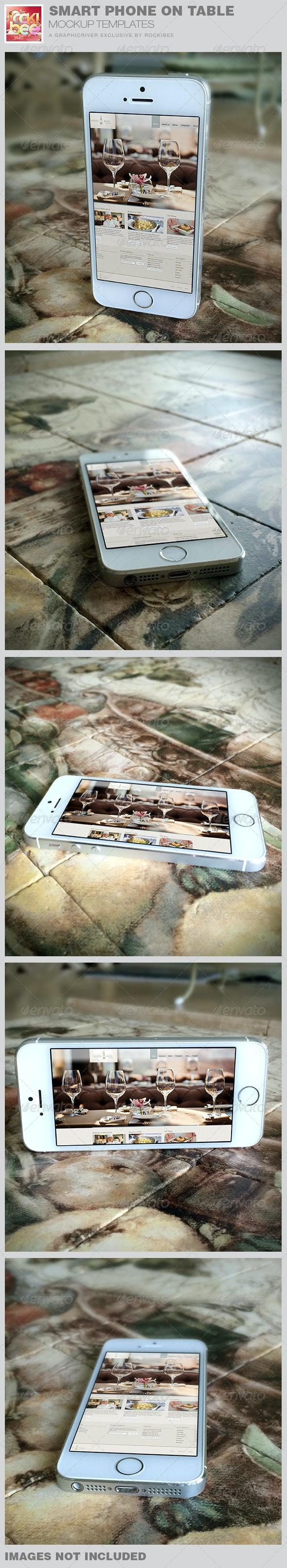 Smart Phone on Table Mockup Templates - Mobile Displays