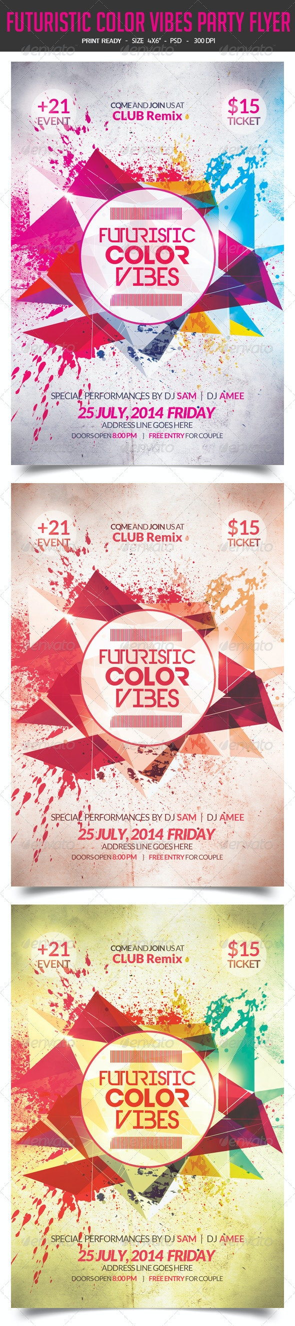 Futuristic Color Vibes Party Flyer  - Clubs & Parties Events