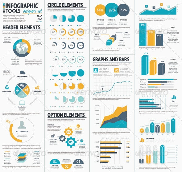 Large Infographic Vector Elements Collection - Infographics