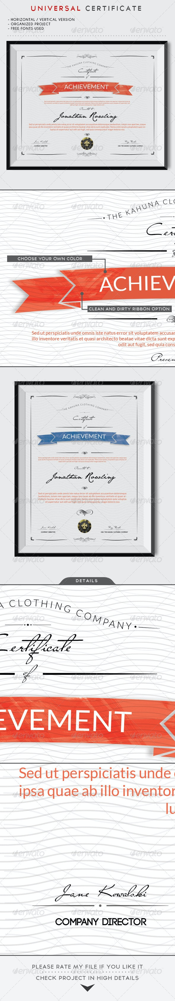 Universal Certificate - Certificates Stationery