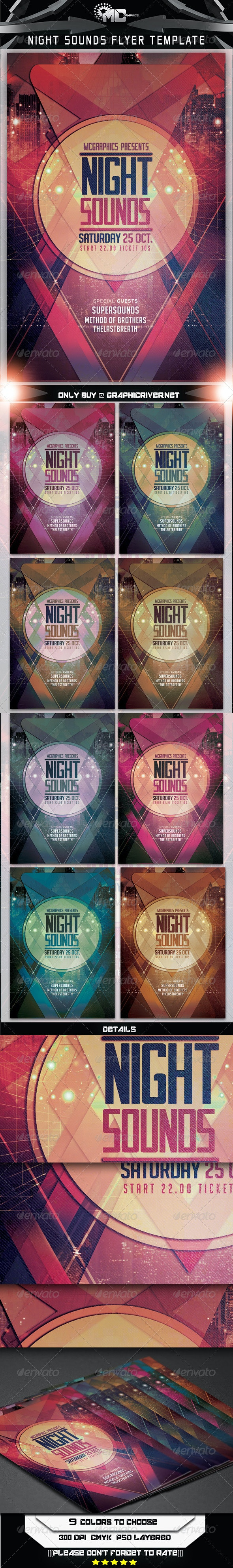 Night Sounds Flyer Template - Flyers Print Templates