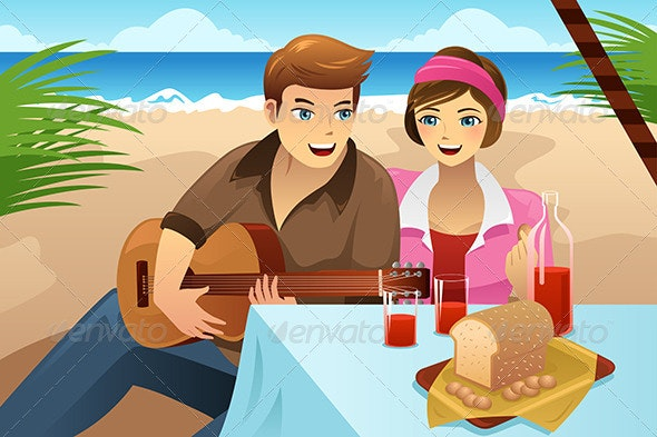 Couple having a picnic - People Characters