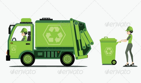 Garbage Truck Picking up Trash - Objects Vectors