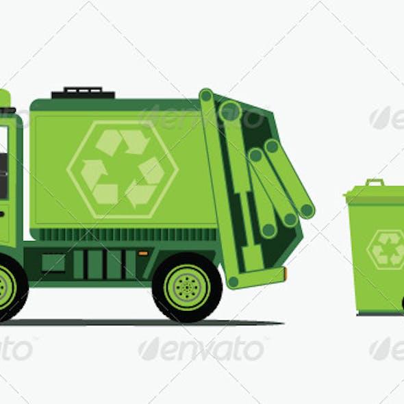 Garbage Truck Picking up Trash