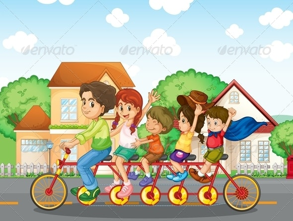 A Family Biking Together  - People Characters