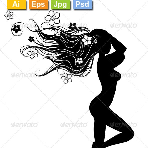 Silhouette of Girl with Long Hairs