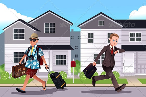 People Going to Work and Vacation Concept - Conceptual Vectors
