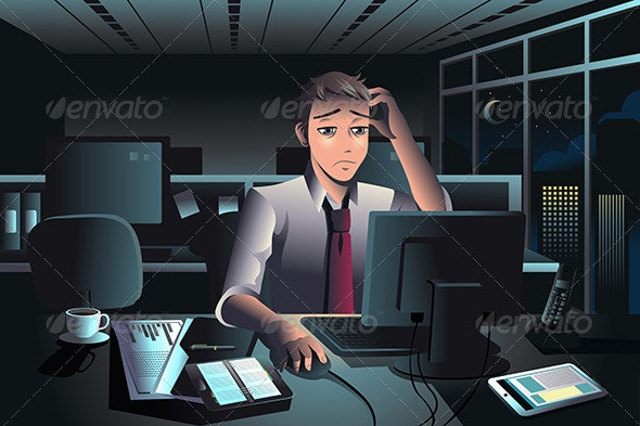 Businessman Working Late at Night in the Office - Business Conceptual
