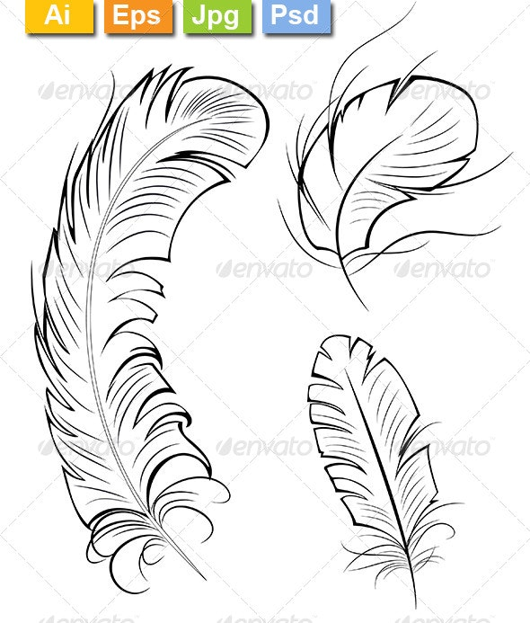 Three Contour Feathers - Tattoos Vectors