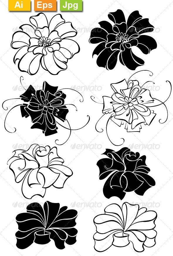 Stylized Luxury Bows - Tattoos Vectors