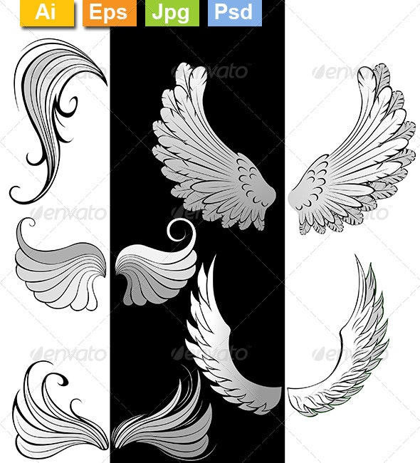 Stylized Wings - Tattoos Vectors