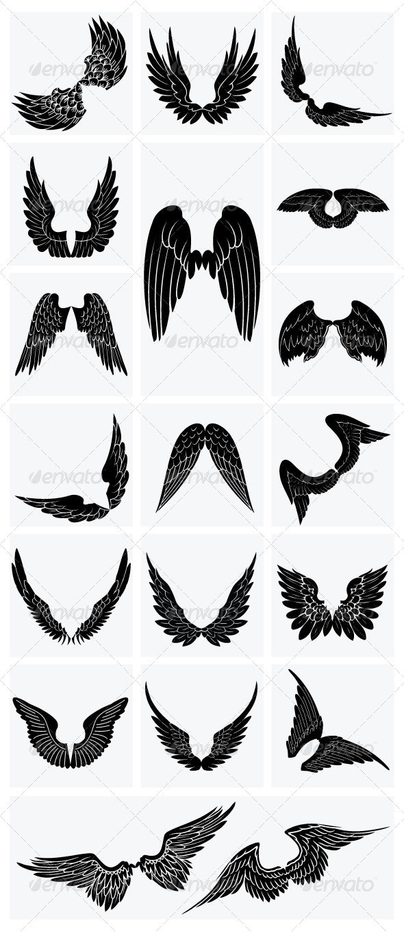 Silhouettes Wing Collection - Miscellaneous Vectors