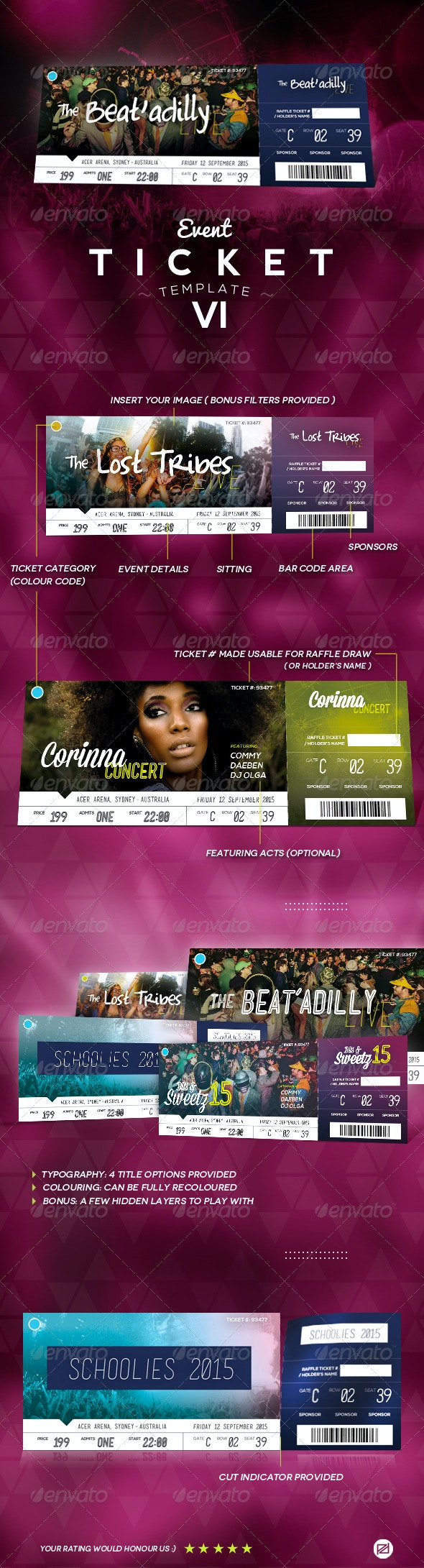 Event Ticket Template VI - Miscellaneous Print Templates
