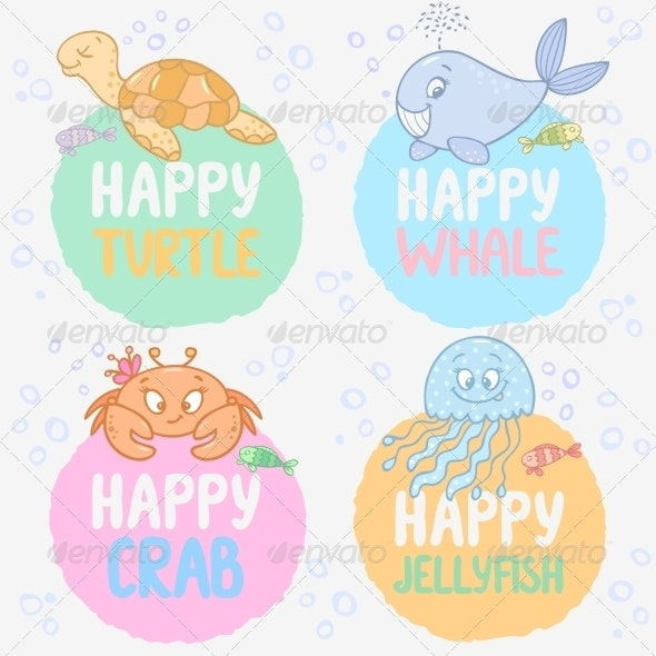 Marine Labels - Animals Characters
