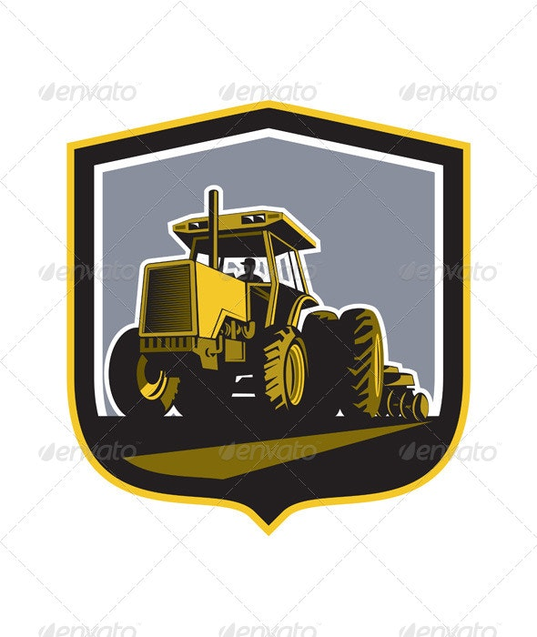 Farmer Driving Vintage Farm Tractor Plowing Retro - Man-made Objects Objects