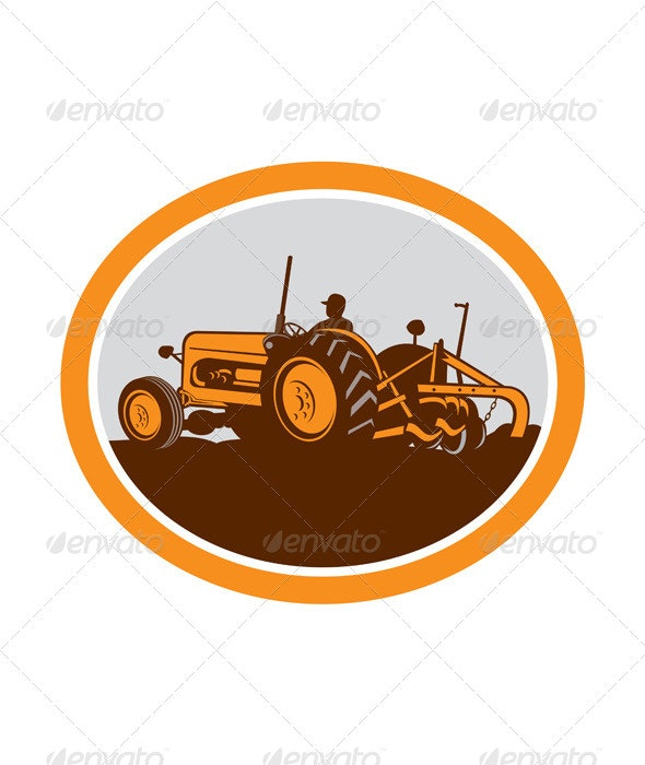 Vintage Farm Tractor Farmer Plowing Oval Retro - Man-made Objects Objects