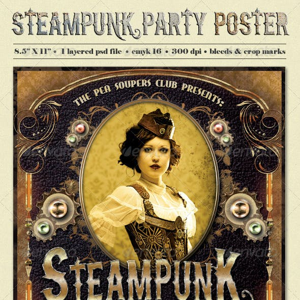Steampunk Party Poster Template
