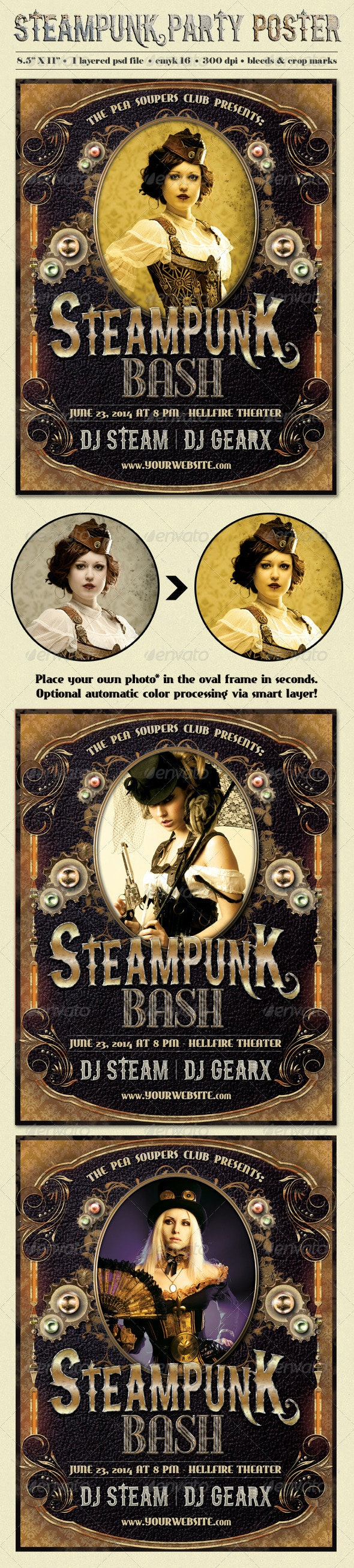 Steampunk Party Poster Template - Clubs & Parties Events