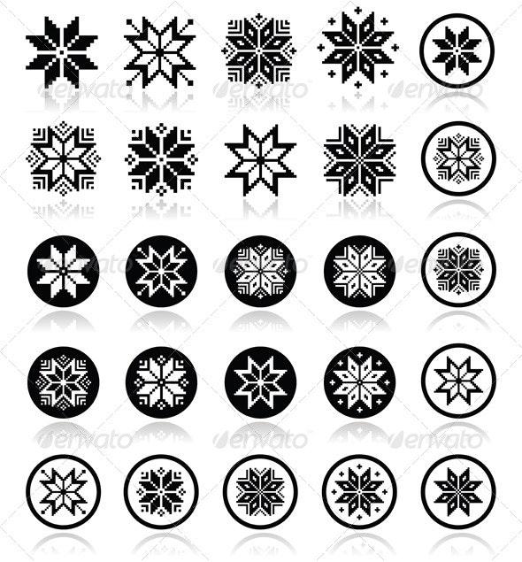 Pixelated Snowflakes, Christmas Icons  - Seasons Nature