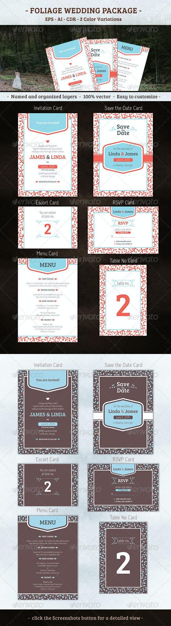 Foliage Wedding Package - Weddings Cards & Invites
