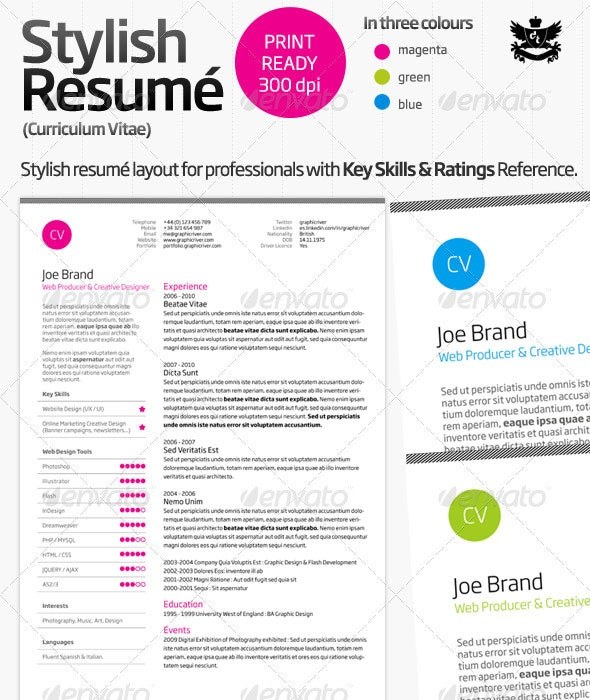 Clean and Professional Resume (CV) - Resumes Stationery