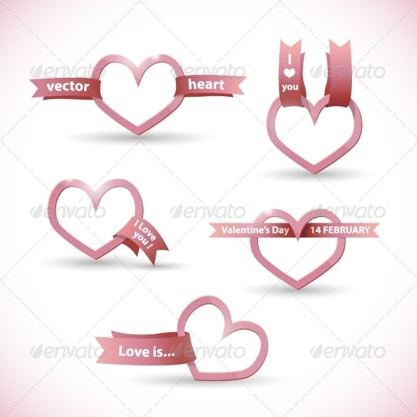 Banner in the Form of a Heart with Ribbon - Valentines Seasons/Holidays