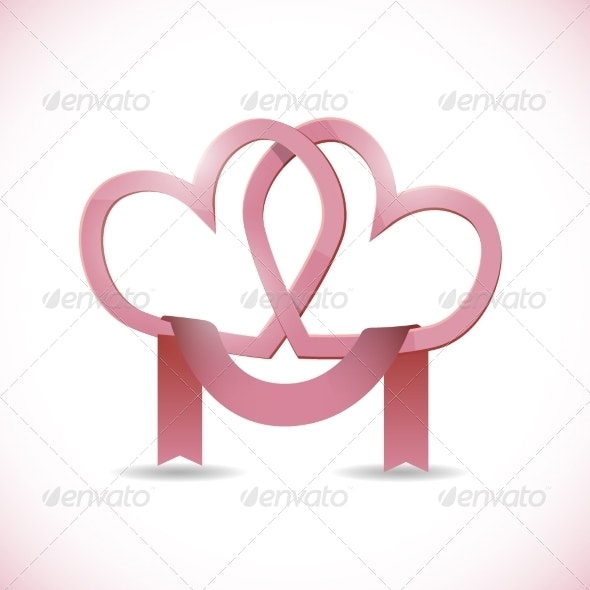 Vector Banner in the Form of Two Hearts with Ribbon - Valentines Seasons/Holidays
