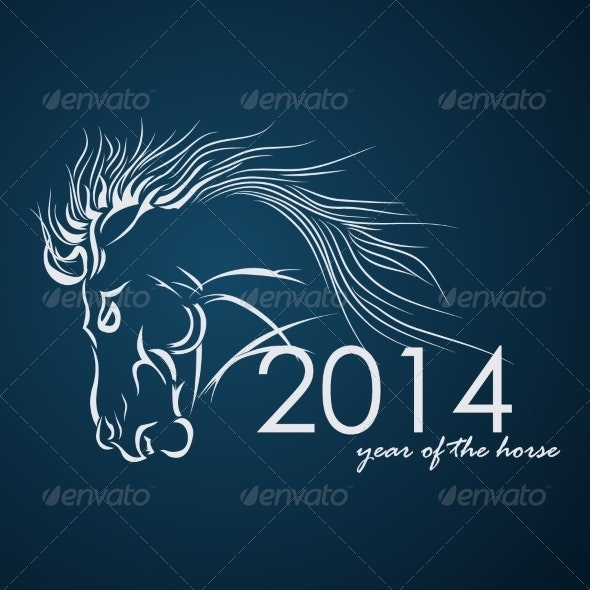 2014 - Year of the Horse. Vector Illustration - Backgrounds Decorative