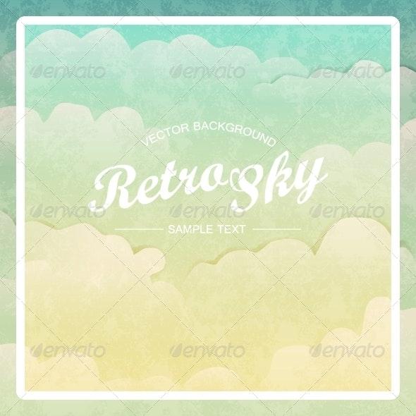 Retro Vintage Style Sky. Vector Background - Backgrounds Decorative