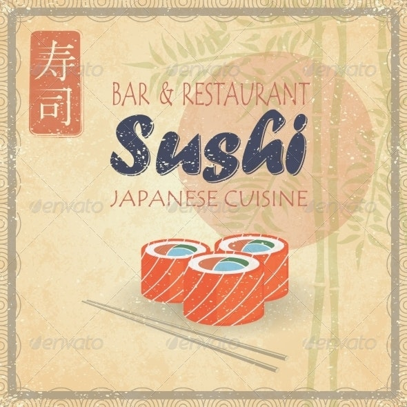 Retro Vintage Style Sushi on Paper with Bamboo - Backgrounds Decorative