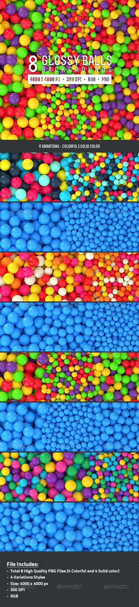 8 Glossy Balls Backgrounds Pack 2 - 3D Backgrounds