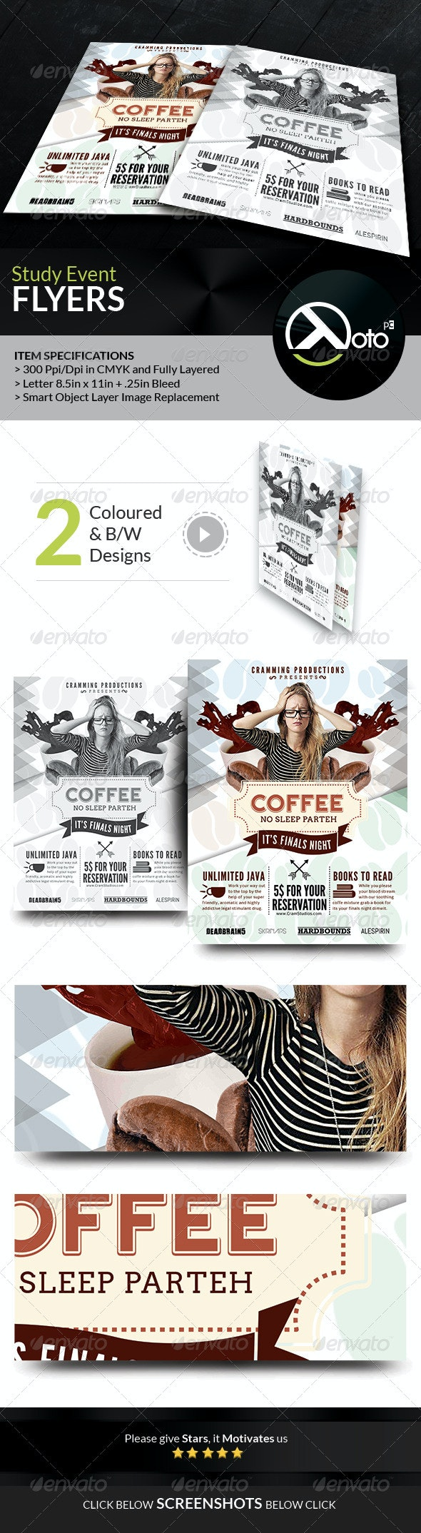 Coffee Study No Sleep Event Flyer - Events Flyers