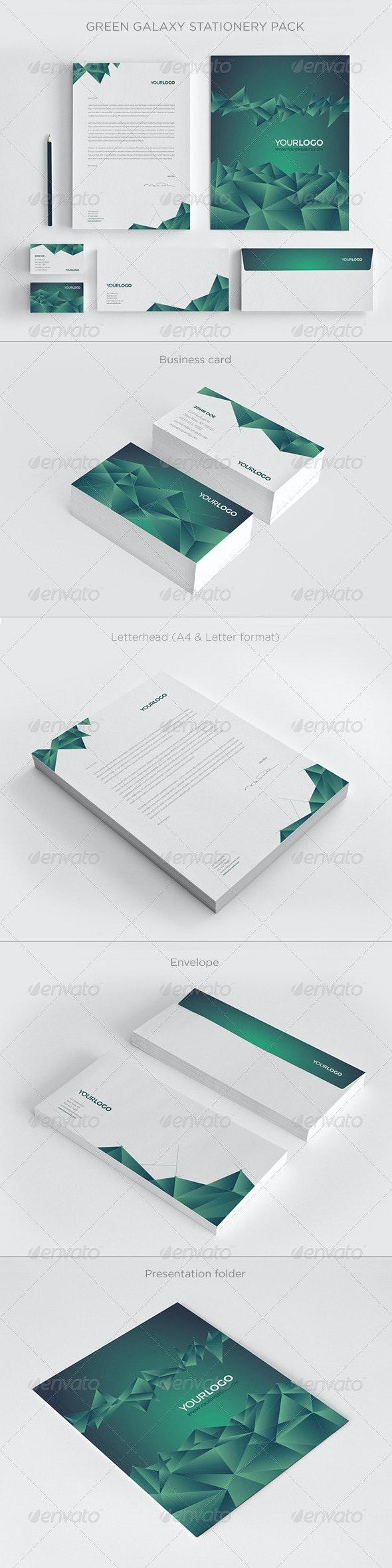 Green Galaxy Stationery - Stationery Print Templates