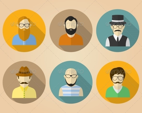 Set of Male Avatars for Social Networks - People Characters