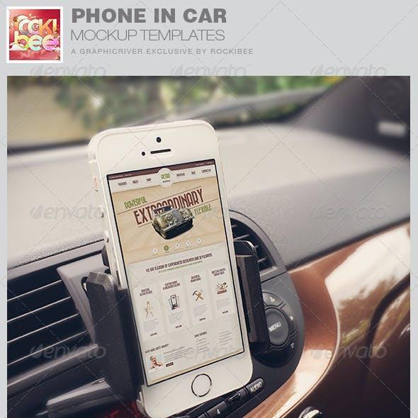 Smart Phone in Car Mockup Templates
