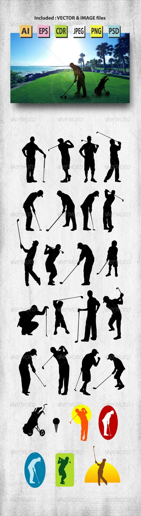 Male Golfer Silhouettes - Sports/Activity Conceptual