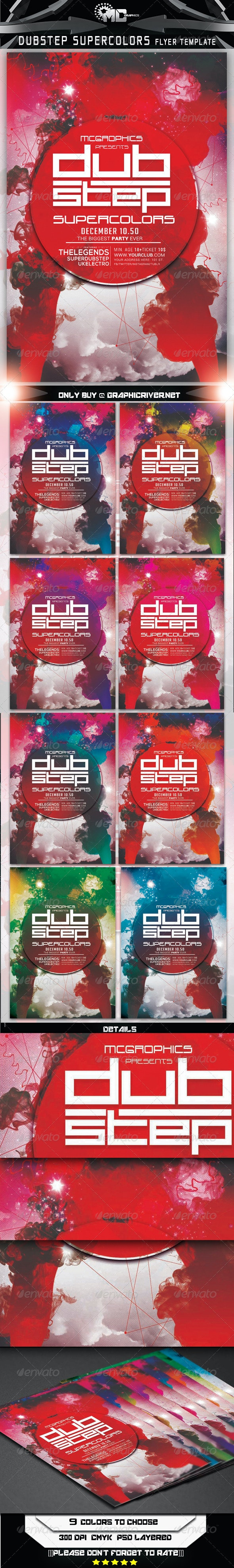 Dubstep Super Colors Flyer Template - Clubs & Parties Events