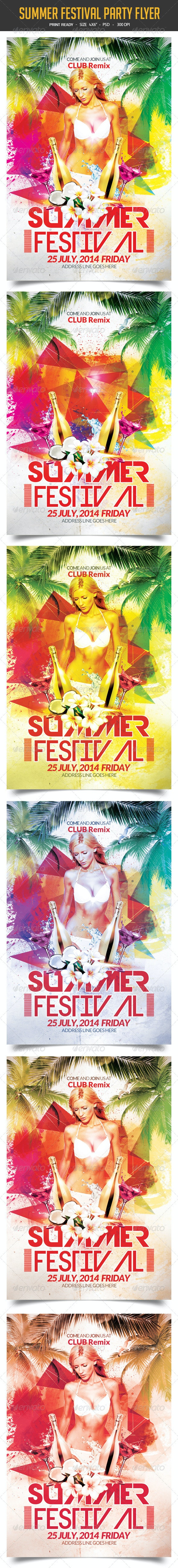Summer Festival Party Flyer - Clubs & Parties Events