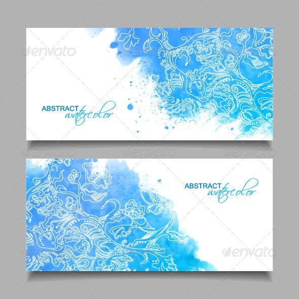 Abstract Watercolor Blue Banners
