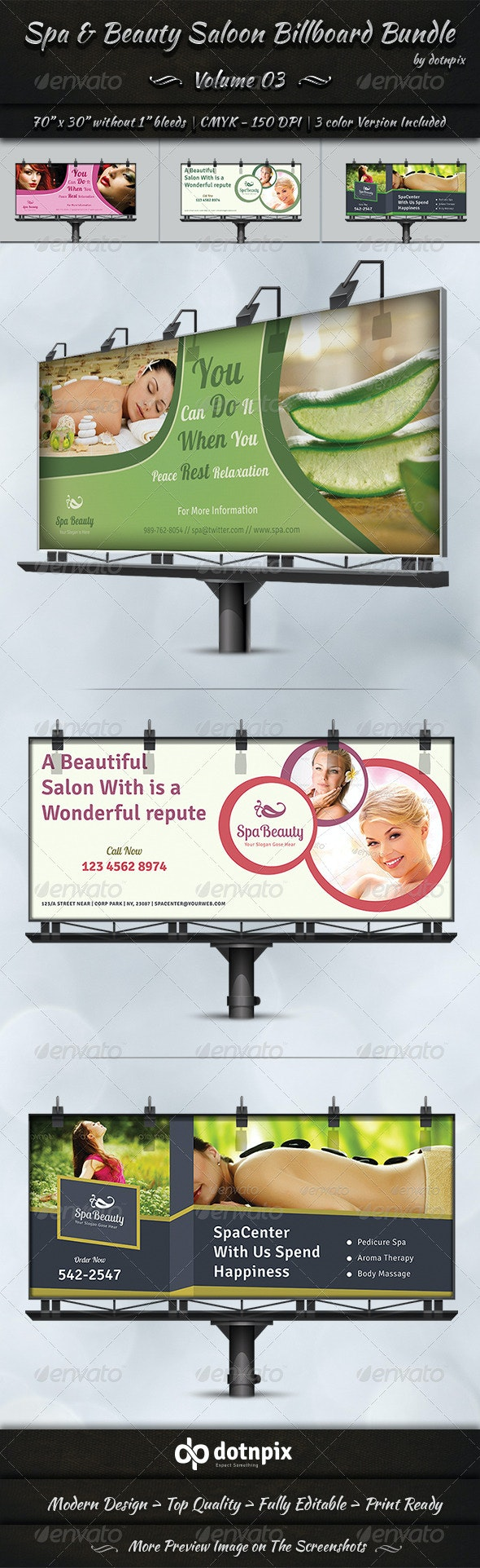 Spa & Beauty Saloon Billboard Bundle   Volume 3 - Signage Print Templates