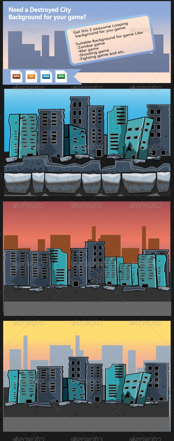 Destroyed City- Game Background - Backgrounds Decorative