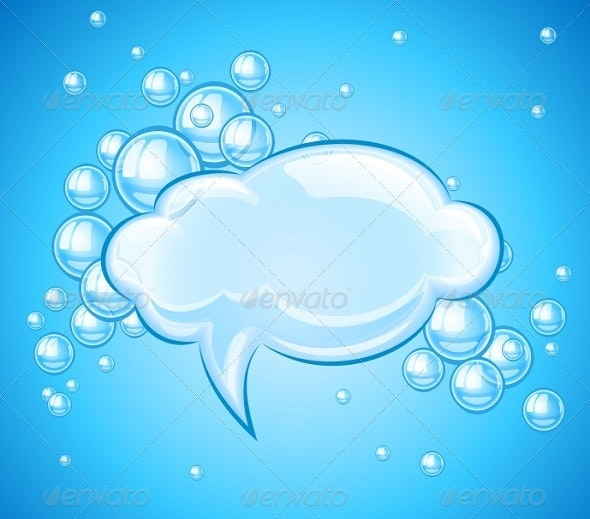 Bubbles Cloud in Water for Message - Decorative Symbols Decorative
